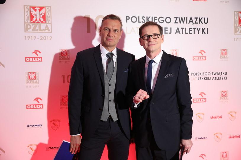 Sebastian Chmara (z lewej) i Przemysław Babiarz podczas gali PZLA / Leszek Szymański    /PAP
