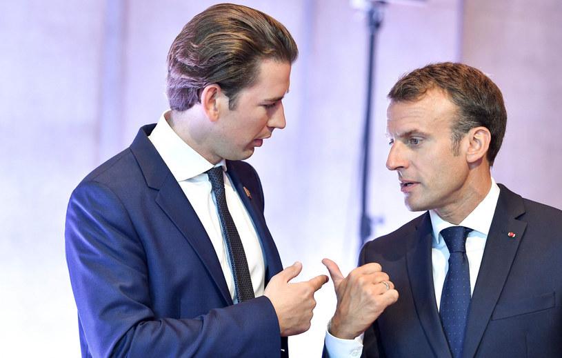 Sebastian Kurz i Emmanuel Macron /JOE KLAMAR / AFP /East News