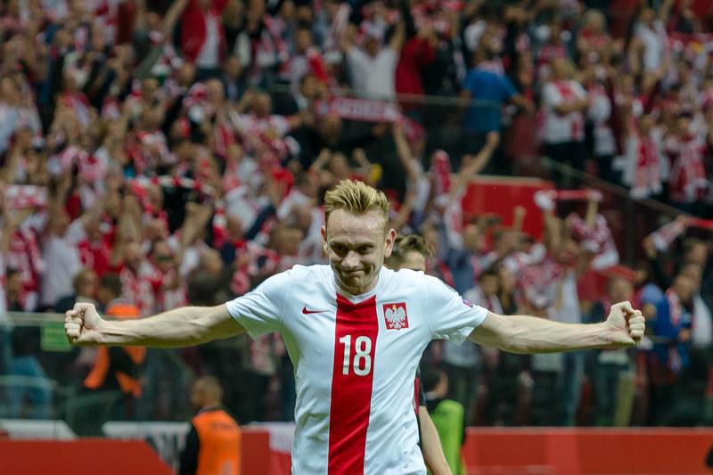 Sebastian Mila fetuje gola strzelonego w meczu z Niemcami /AFP