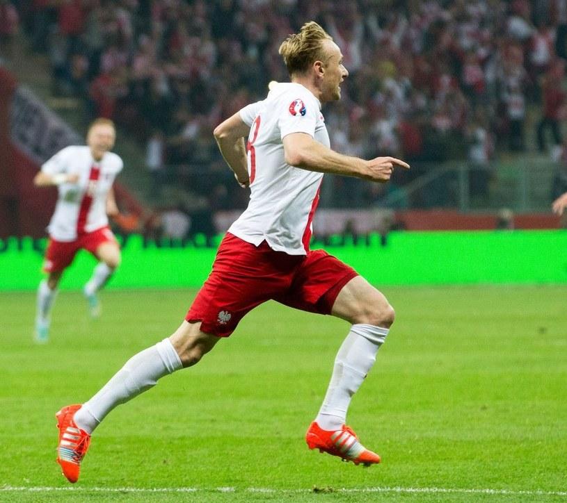 Sebastian Mila, po tym, jak strzelił Niemcom gola. /AFP