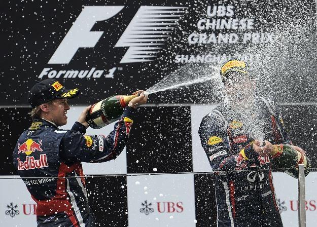 Sebastian Vettel i Mark Webber na podium GP Chin /AFP