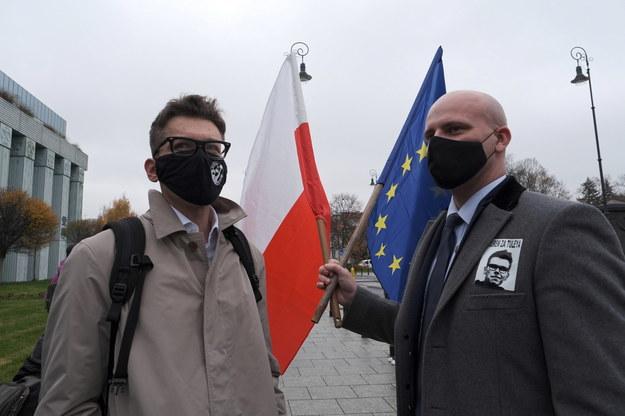 Sędziowie Igor Tuleya i Bartłomiej Starosta przed budynkiem Sądu Najwyższego w Warszawie /Mateusz Marek /PAP