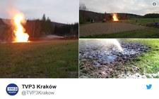 Sękowa: Erupcja gazu i wody z ropą. Słup ognia
