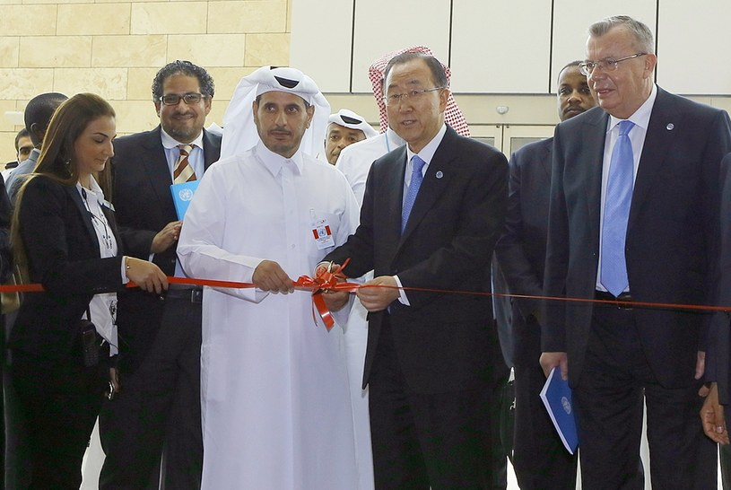 Sekretarz generalny ONZ premier Kataru przed rozpoczęciem 13. Kongresu Narodów Zjednoczonych /AFP