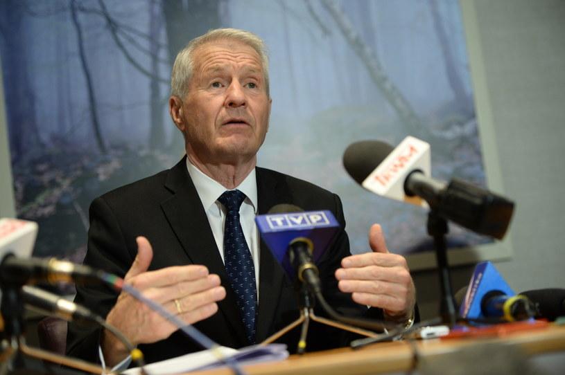 Sekretarz generalny Rady Europy Thorbjoern Jagland podczas konferencji prasowej /Jacek Turczyk /PAP
