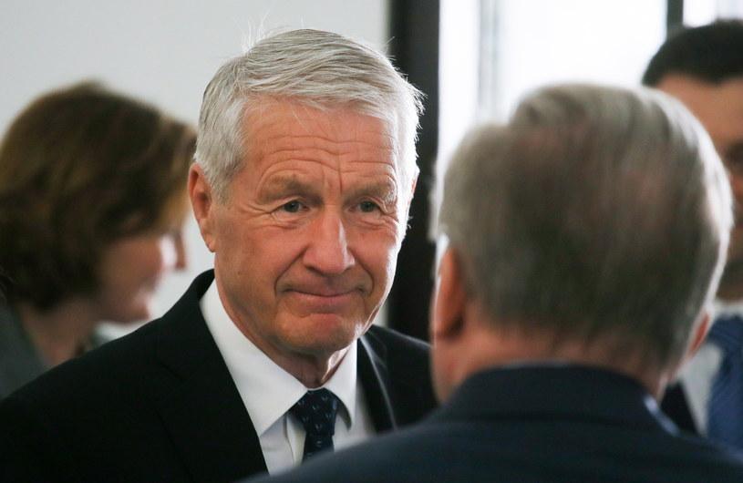 Sekretarz generalny Rady Europy Thorbjoern Jagland w Sejmie po spotkaniu z marszałkiem Markiem Kuchcińskim /Paweł Supernak /PAP