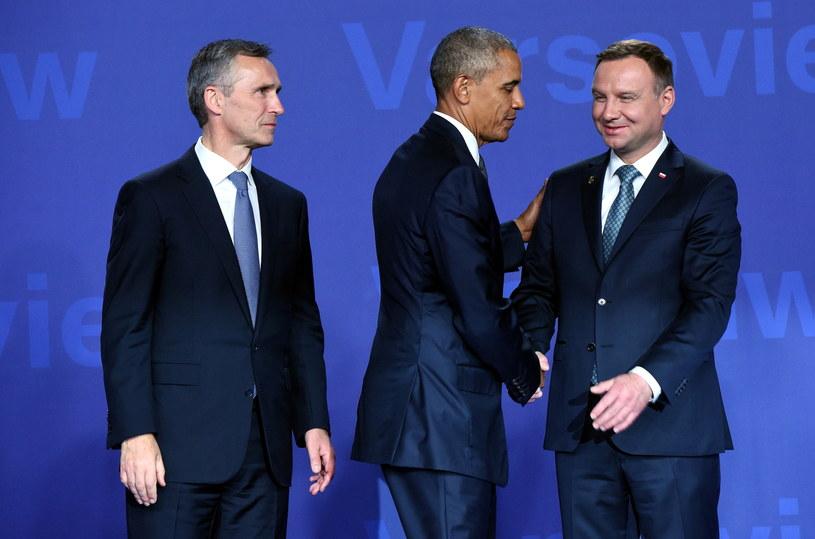 Sekretarz generalny Sojuszu Północnoatlantyckiego Jens Stoltenberg, prezydent USA Barack Obama oraz prezydent RP Andrzej Duda /Radek Piertruszka /PAP