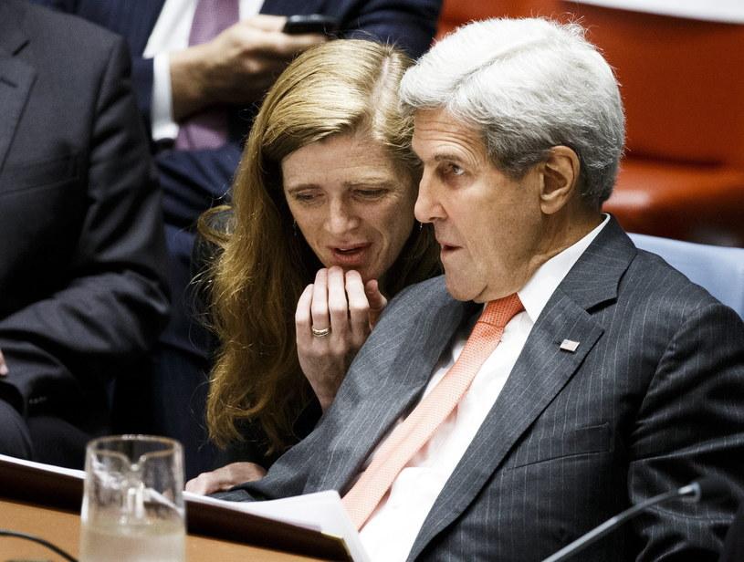 Sekretarz Stanu USA John Kerry w towarzystwie Samanthy Power - ambasadora USA przy ONZ /PAP/EPA