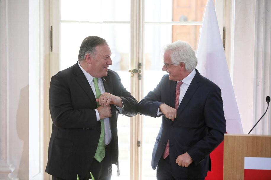 Sekretarz stanu USA Mike Pompeo i minister spraw zagranicznych RP Jacek Czaputowicz /Wojciech Olkuśnik /PAP