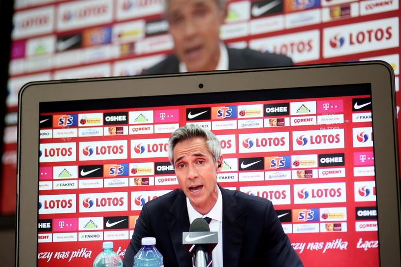 Selekcjoner piłkarskiej reprezentacji Polski Paulo Sousa na konferencji prasowej, podczas której ogłosił nazwiska 26 zawodników powołanych na zbliżające się mistrzostwa Europy, a także dodatkowego bramkarza /Leszek Szymański /PAP
