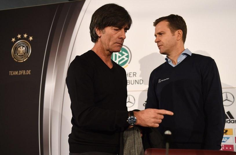 Selekcjoner reprezentacji Niemiec Joachim Loew (z lewej) i menedżer zespołu Oliver Bierhoff /AFP