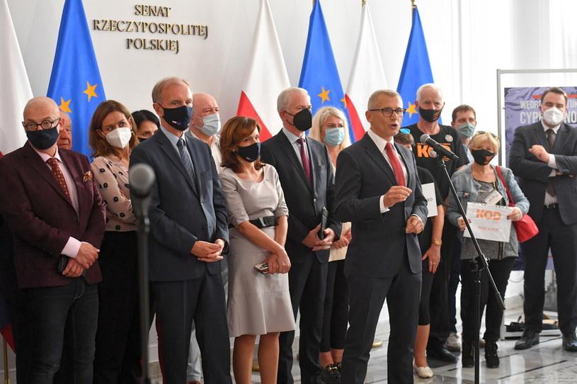 Senatorowie opozycji /Piotr Nowak /PAP