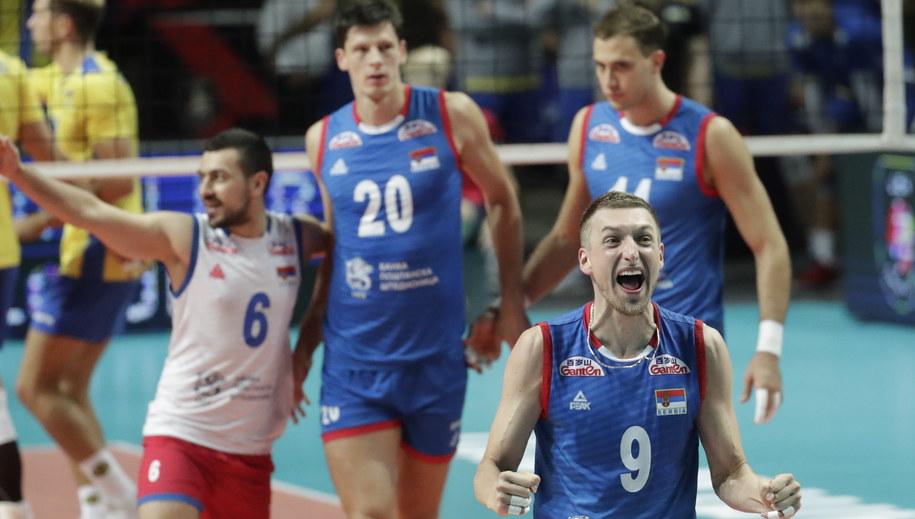 Serbowie po zwycięstwie z Ukrainą /OLIVIER HOSLET /PAP/EPA