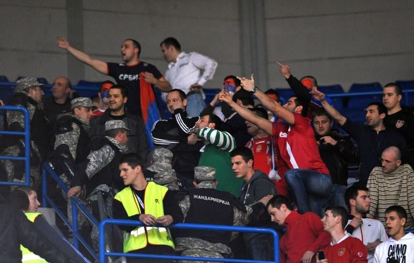 Serbscy kibice słowami i gestami atakują Chorwatów /AFP