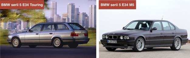 """Seria 5 E34 Touring: pierwsze kombi w gamie serii 5. Cecha charakterystyczna - otwierana tylna szyba. W ogłoszeniach stanowi 1/3 ofert. Seria 5 E34 M5: ostatnie M5 z silnikiem R6. Pojemność 3,5 l, moc 315 lub 340 KM (bez doładowania). Inna liga cenowa niż """"zwykłe"""" E34. /Motor"""