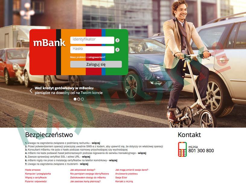 Sfałszowana strona logowania do serwisu online mBanku. /materiały prasowe