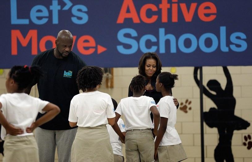 Shaquille O'Neal i Michelle Obama na zajęciach z dziećmi /AFP