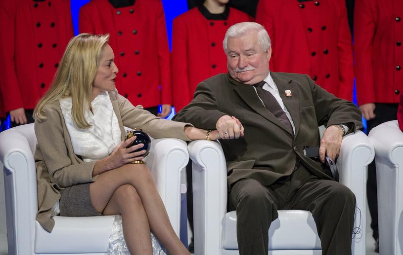 Sharon Stone z Lechem Wałęsą /Bartosz Krupa /East News
