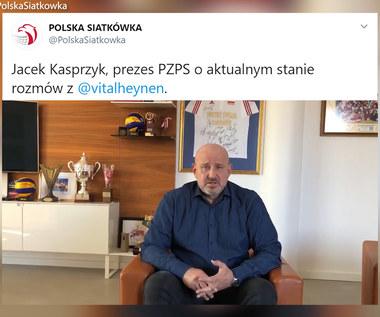 Siatkówka. Jacek Kasprzyk: Chcemy bardzo, żeby trener Heynen pracował z nami do igrzysk. Wideo