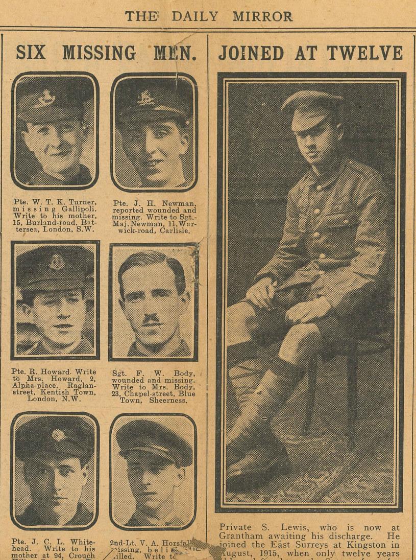 Sidney Lewis (na zdjęciu po prawej), najmłodszy żołnierz I wojny światowej /domena publiczna