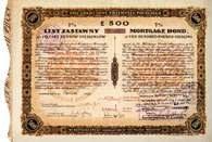 Siedmioprocentowy list zastawny Towarzystwa Kredytowego Przemysłu Polskiego na kwotę 500 funtów s /Encyklopedia Internautica