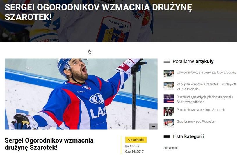 Siergiej Ogorodnikow; źródło: podhalenowytarg.pl /