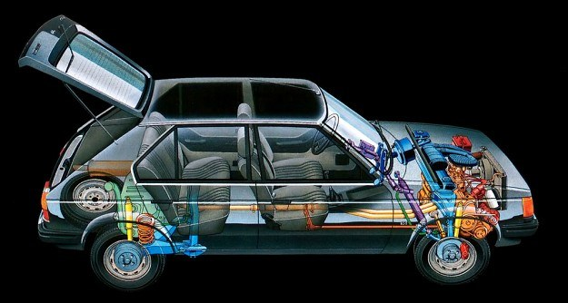 Silnik (o trzech, a nawet czterech wersjach pojemnościowych) umieszczony jest poprzecznie z przodu wozu i napędza koła przednie. Przy kołach tylnych, zawieszonych również niezależnie, spotykamy hamulce bębnowe. /Chrysler