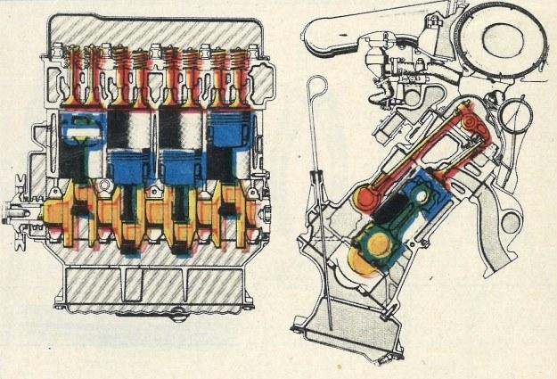 Silnik, pochylony do tyłu pod kątem 41°, nie jest zbyt nowoczesny ma bowiem rozrząd popychaczowy. Za to zastosowano zapłon tranzystorowy wykazujący podobno dużą trwałość i niezawodność. /Motor