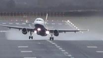 Silny wiatr utrudniał starty i lądowania na lotnisku