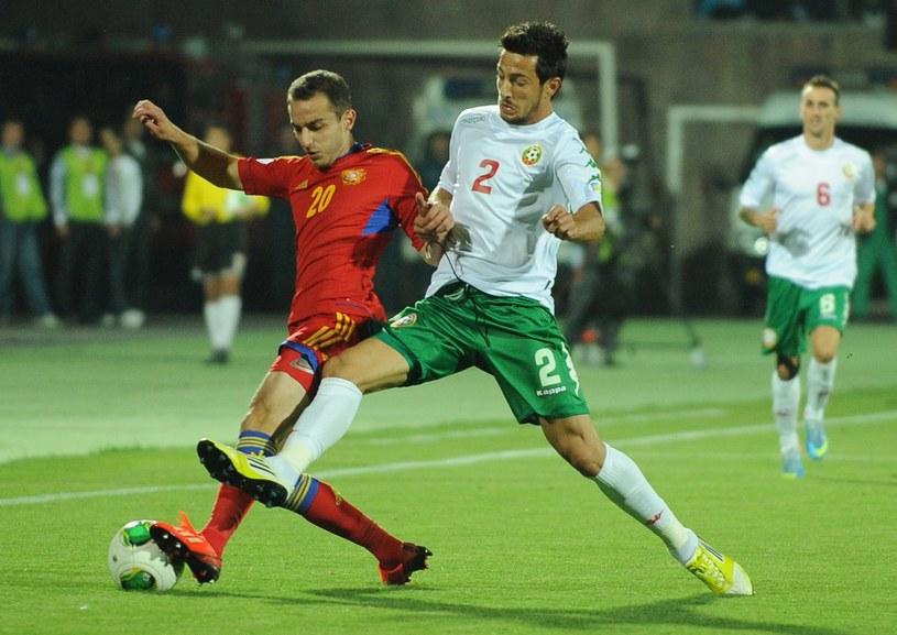 Simeon Sławczew (w białej koszulce) w barwach reprezentacji Bułgarii /KAREN MINASYAN /AFP