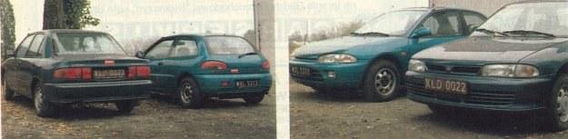 Siostrzane auta: Lancer i Colt (w drugim planie). Prawda, że niepodobne? /Motor