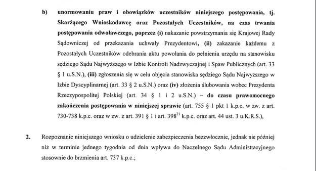 Skarżący wnosi o podjęcie przez sąd decyzji o zablokowaniu mianowania sędziów Sądu Najwyższego najpóźniej w ciągu 7 dni. /Zrzut ekranu
