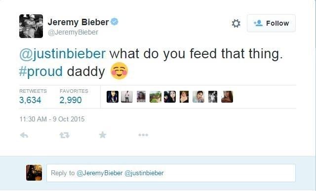 Skasowany wpis Jeremy'ego Biebera do własnego syna /
