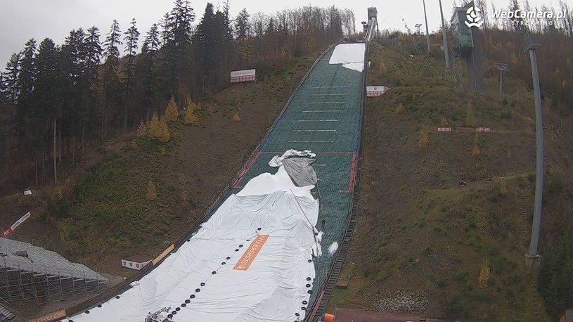 Skocznia narciarska w Wiśle - widok z kamery/Źródło: WebCamera.pl /