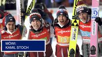 Skoki narciarskie. Piotr Żyła, Andrzej Stękała i Kamil Stoch po konkursie drużynowym. Wideo