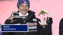 Skoki narciarskie. Piotr Żyła po dekoracji medalistów konkursu w Oberstdorfie. Wideo