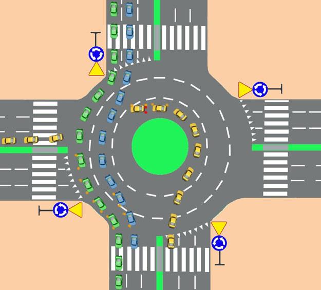 Skręcanie w lewo. Jazda lewym pasa obwiedni aż do opuszczenia ronda, bez wcześniejszej zmiany pasa /INTERIA.PL