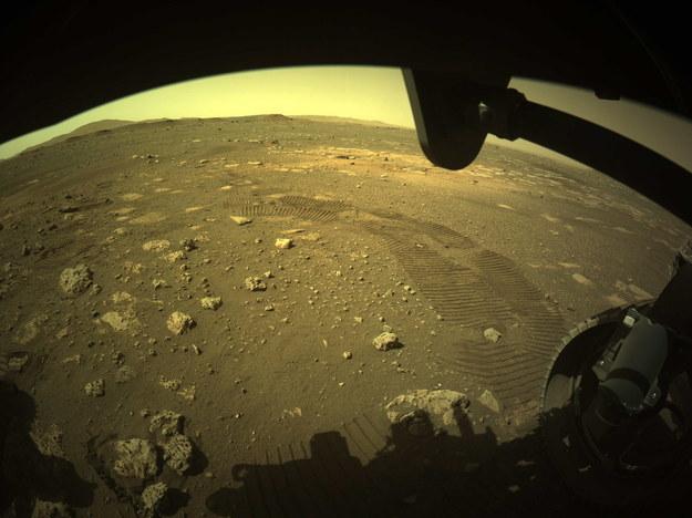 Ślady bieżnika kół łazika Perseverance na Marsie /NASA/JPL-Caltech HANDOUT /PAP/EPA