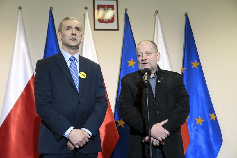 Sławomir Broniarz z ZNP i Sławomir Wittkowicz z FZZ /Adam Jankowski/REPORTER /Reporter