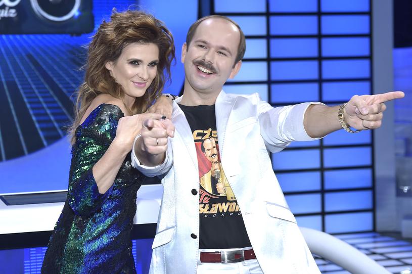 """Sławomir Zapała i Magdalena Kajrowicz na planie programu TVP """"Big Music Quiz"""" /AKPA"""