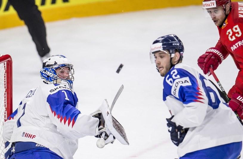 Słowacki bramkarz Marek Ciliakpodczas meczu z Rosją /PAP/EPA
