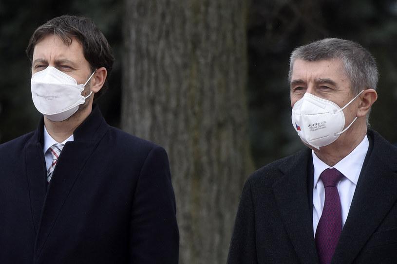 Słowacki premier Eduard Heger i premier Czech Andrej Babisz /AFP