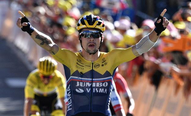 Słoweniec Primoz Roglic z ekipy Jumbo-Visma wygrał w Orcieres-Merlette w Alpach czwarty etap wyścigu kolarskiego Tour de France /Anne-Christine Poujoulat / Pool /PAP