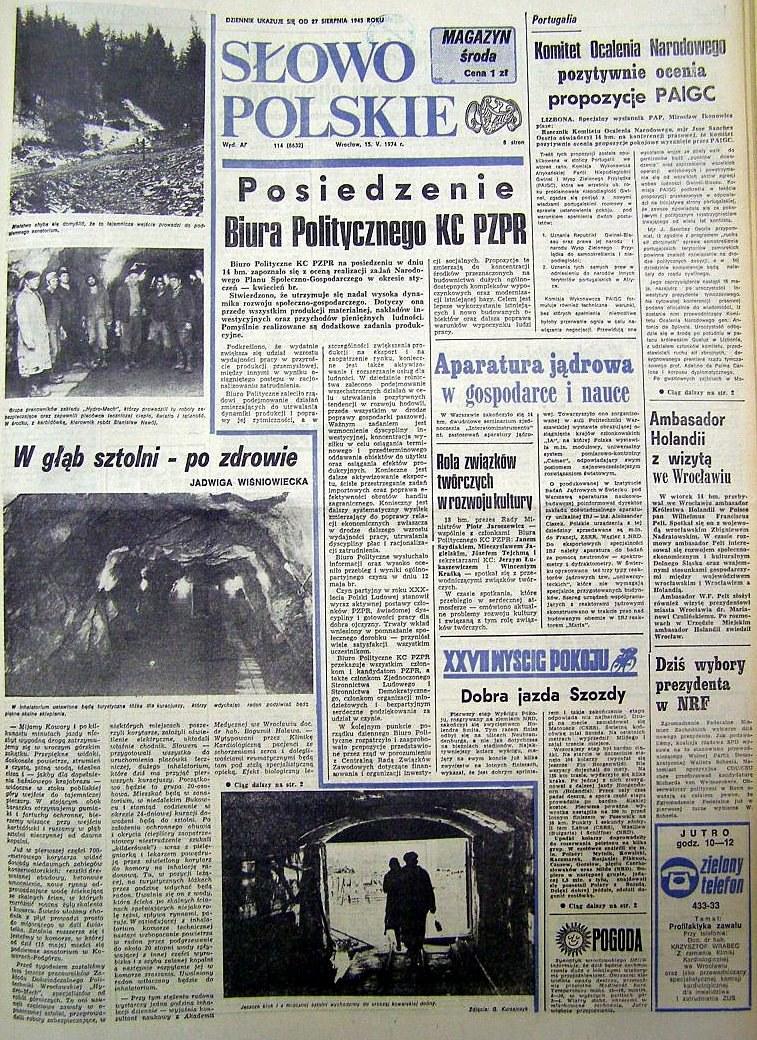 """""""Słowo Polskie"""" z 15 maja 1974 r. informowało o otwarciu kowarskiego Inhalatorium Radonowego w sztolni 19a /Odkrywca"""