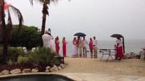 Ślub na plaży. Tymczasem na drugim planie...