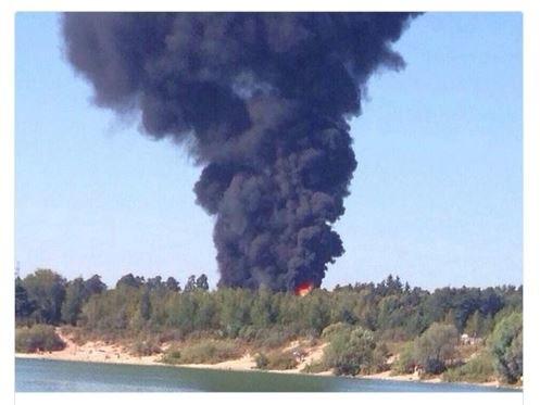 Słup dymu widoczny nad Instytutem Fizyki Jądrowej pod Moskwą /Twitter