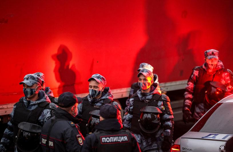 Służby bezpieczeństwa podczas protestu w okolicach Kremla /AFP
