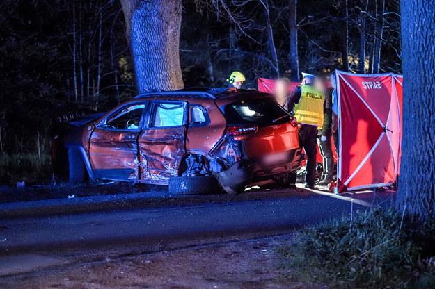 Służby na miejscu wypadku /Grzegorz Michałowski /PAP