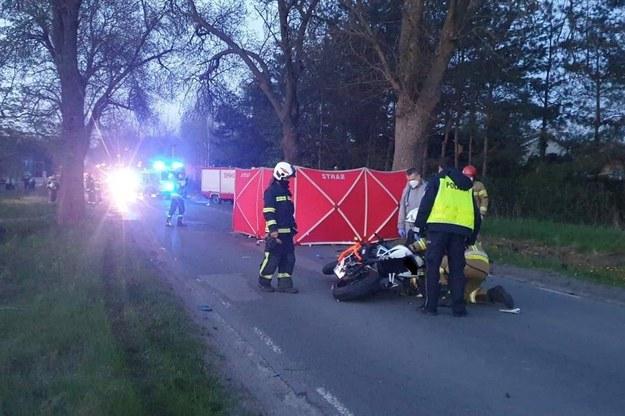 Służby na miejscu wypadku /Łódzka policja /