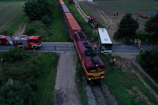 Służby na miejscu wypadku /Tomasz Wojtasik /PAP